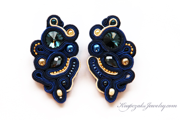 swarovski rivoli navy blue gold beige handmade accessories earrings yellow design colors embroidery designer unique